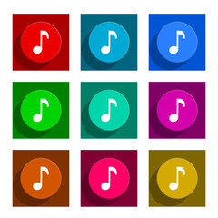 music flat icon vector set