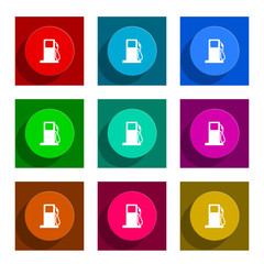 petrol flat icon vector set