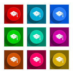 education flat icon vector set