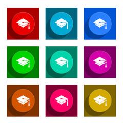 education flat icon vector set