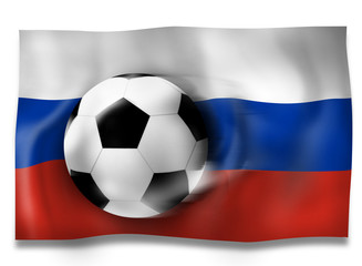 Russian Flag and Football Soccer Ball with effect shadow