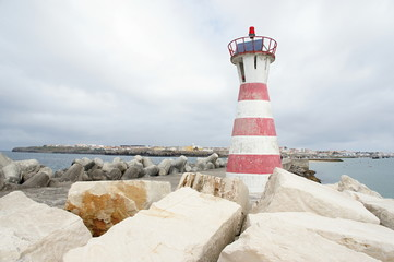 Red and white lighthouse Peniche,Portugal