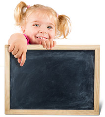 pretty child holding a blackboard