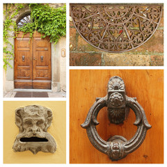old fashion doorway details collage, Tuscany