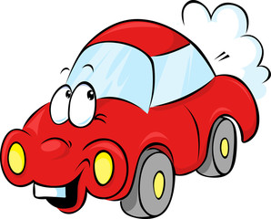 funny red car cartoon