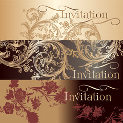 Collection of invitation cards in vintage style