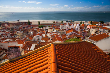 View from the tower on the Tejo river in Lisbon,Portugal