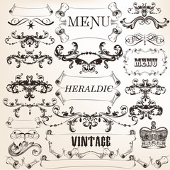 Collection of vector decorative calligraphic elements in vintage