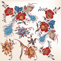 Collection of vector decorative swirls colored in traditional st