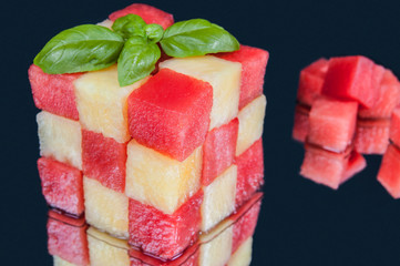 Fun food. Fruits cube