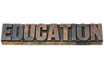 education word in wood type