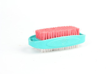 Blue white and red cleaning brush isolated on white background
