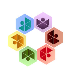 Hexagonal teamwork people logo