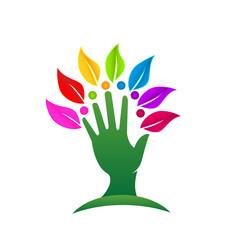 Green tree leafs hand logo vector design