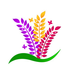 Colorful leafs and butterflies logo vector