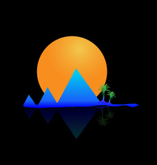 Mountains sun and palms logo vector