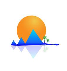 Mountains sun and palms beach logo vector icon