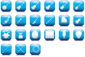 Instruments outlines icons set