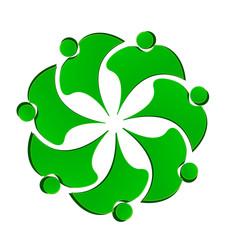 Teamwork green people flower shape logo vector