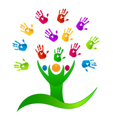 Vector Tree people multicolor hands logo