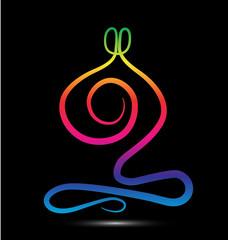 Rainbow yoga meditation logo vector