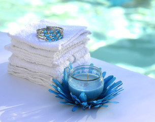 Candle decoration towel spa salon.