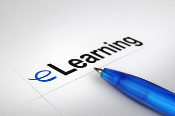 eLearning. Written on white paper