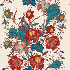 Floral seamless vector wallpaper pattern with flowers in vintage