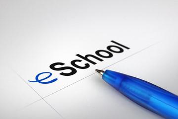 eSchool. Written on white paper