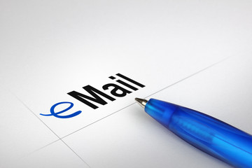 eMail. Written on white paper