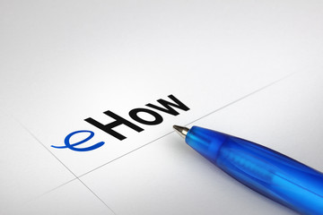 eHow. Written on white paper