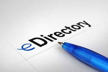 eDirectory. Written on white paper