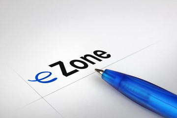 eZone. Written on white paper