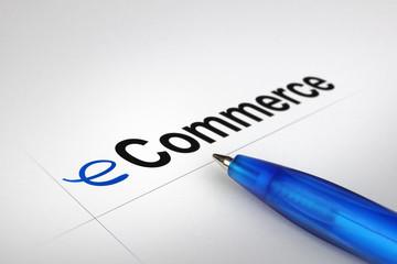 eCommerce. Written on white paper