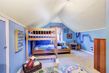 Bright blue kids room with bunk bed