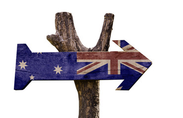 Australia wooden sign isolated on white background