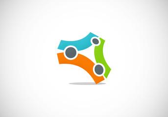 3D shape technology vector logo