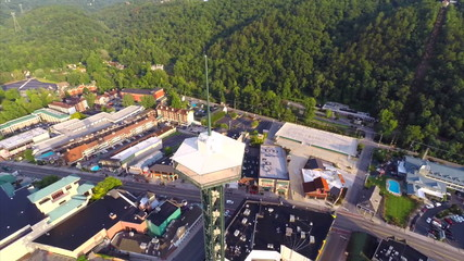 Aerial video footage Gatlinburg Tennessee