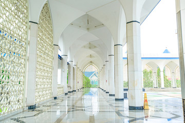 A Hallway of Blue Mosque in Shah Alam, Malaysia
