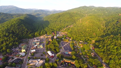 Aerial drone Gatlinburg Tennessee