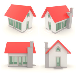 Red 3D house icons in different angle set 2