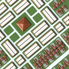 An 3D aerial view of the city with houses and buildings in top