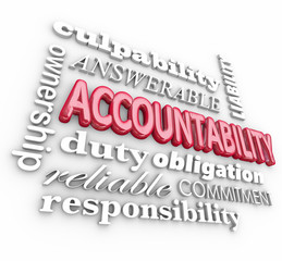 Accountability 3d Word Collage Responsibility Culpability Duty