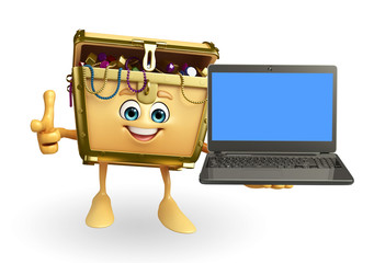 Treasure box character with laptop