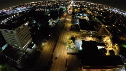 Aerial night drone video of the city