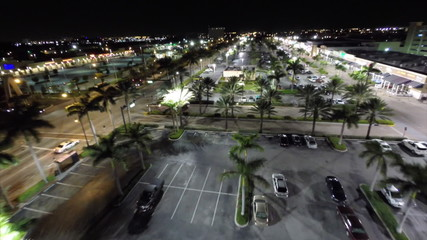 Aerial drone video city at night Hallandale