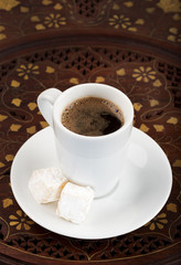 Cup of black turkish coffee