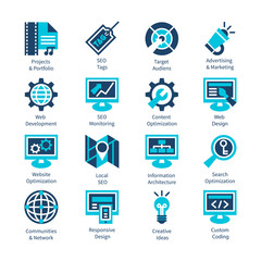 SEO and internet optimization icon set.
