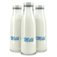 Milk bottles isolated
