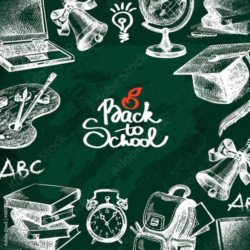 Hand drawn back to school background. Sketch education objects